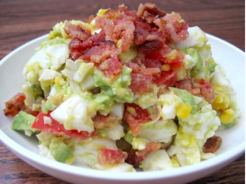 Paleo diet, primal blueprint diet, gluten free Bacon, egg, avocado & tomato salad